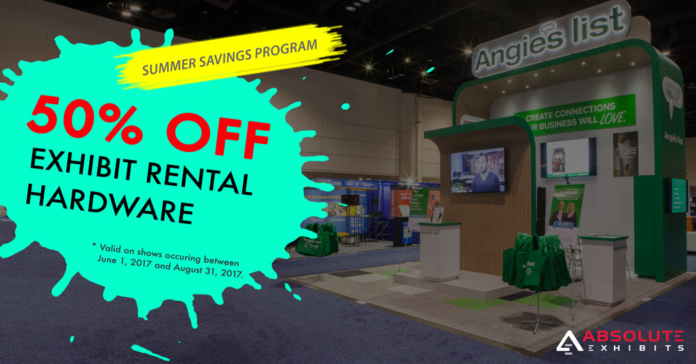exhibit discount, summer promo, 50 off
