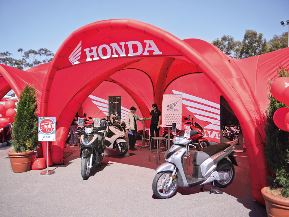 Outdoor Event Tent with Motorcycles