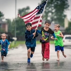 hurricane harvey, kids running