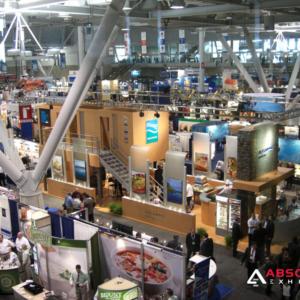 trade show, crowds, overhead, convention center