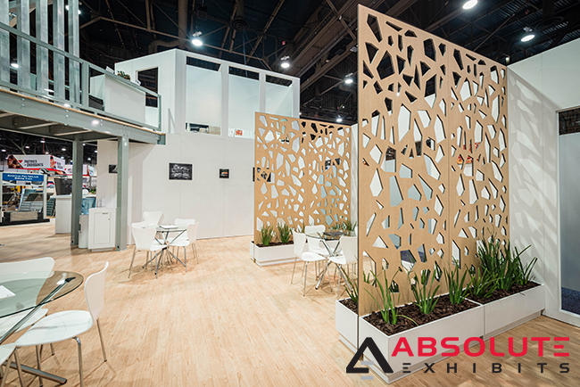 semi private lounge in a trade show exhibit