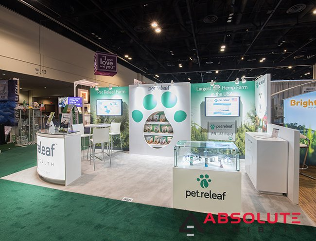 pet releaf 10x20 trade show display design